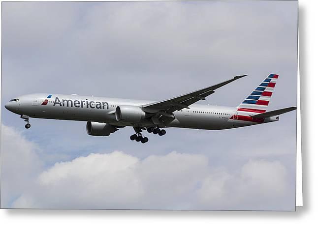 American Airlines Boeing 777 Greeting Card by David Pyatt