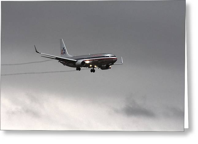 American Airlines-landing At Dfw Airport Greeting Card by Douglas Barnard