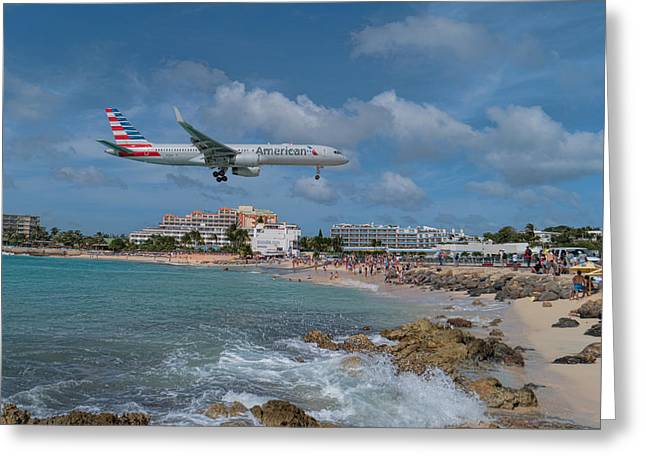American Airlines Landing At St. Maarten Airport Greeting Card