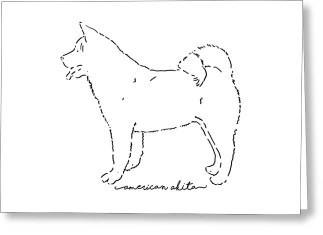 American Akita Sketch Greeting Card by Pablo Romero