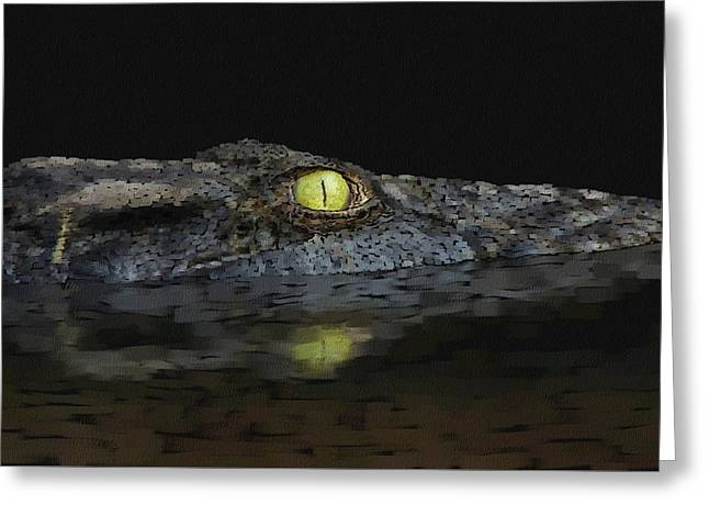 American Aligator Greeting Card by Kathie Miller