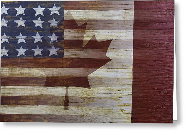 American And Canadian Flag Greeting Card by Garry Gay