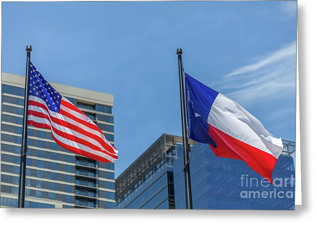 American And Texas Flag On Top Of The Pole Greeting Card
