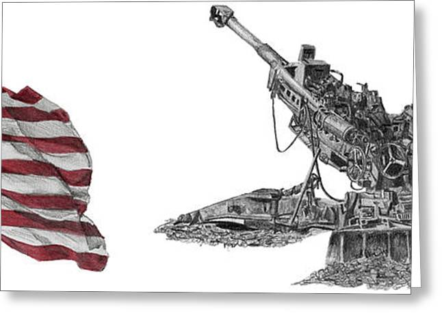 Greeting Card featuring the drawing American Artillery by Betsy Hackett