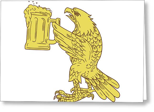 American Bald Eagle Beer Stein Drawing Greeting Card