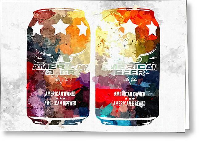 American Beer Cans Greeting Card by Daniel Janda