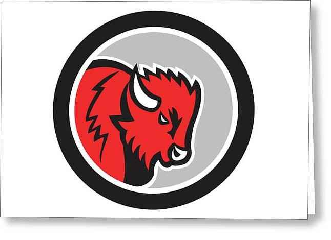 American Bison Buffalo Head Circle Retro Greeting Card