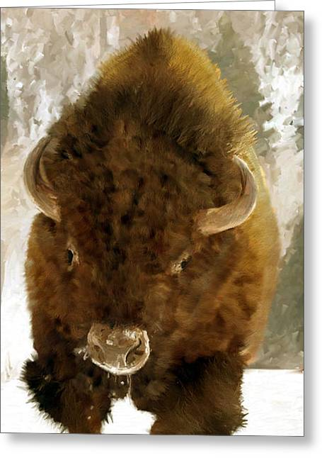 Greeting Card featuring the painting American Bison by James Shepherd