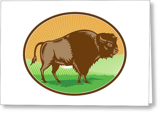 American Bison Oval Woodcut Greeting Card by Aloysius Patrimonio
