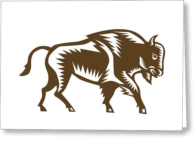 American Bison Woodcut Greeting Card by Aloysius Patrimonio