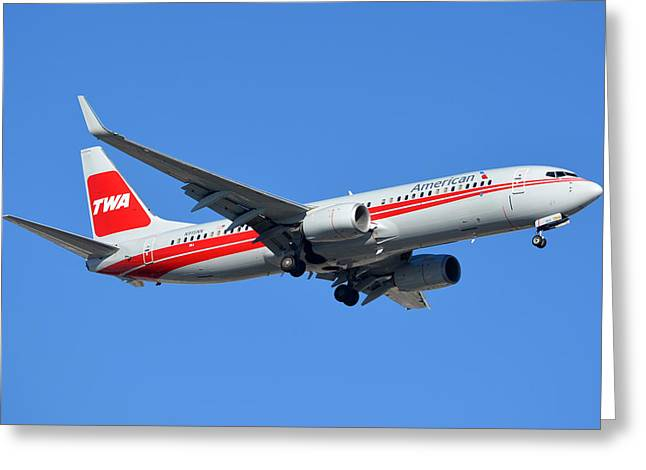 American Boeing 737-823 N915nn Phoenix Sky Harbor January 11 2015 Greeting Card by Brian Lockett