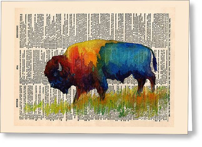 American Buffalo IIi On Vintage Dictionary Greeting Card by Hailey E Herrera