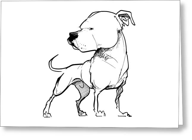 American Bulldog Gesture Sketch Greeting Card