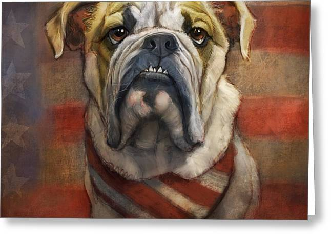 American Bulldog Greeting Card by Sean ODaniels