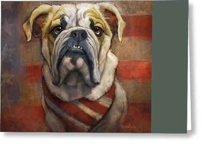 American Bulldog Greeting Card by Sean ODaniels