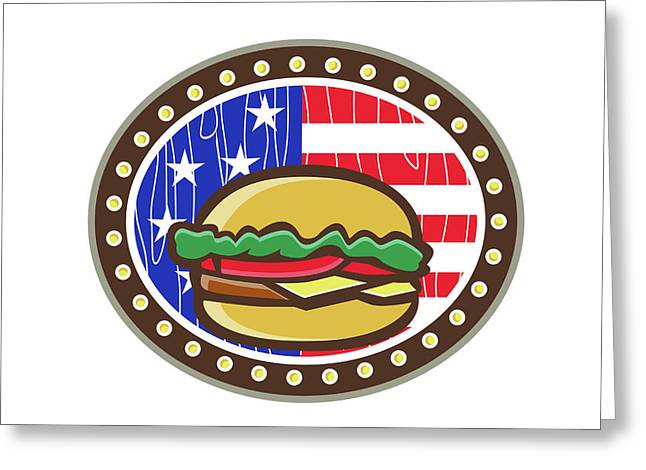 American Cheeseburger Usa Flag Oval Cartoon Greeting Card