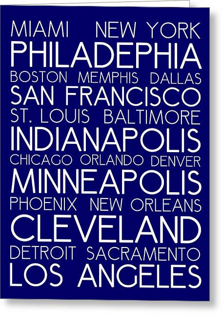 American Cities In Bus Roll Destination Map Style Poster - Blue Greeting Card by Celestial Images