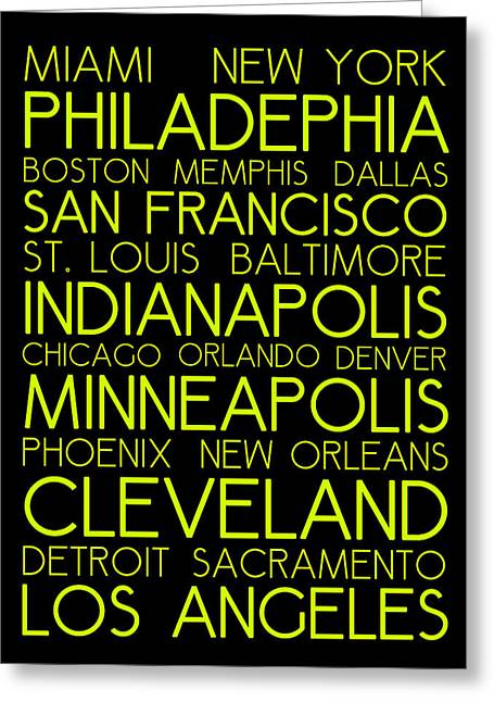 American Cities In Bus Roll Destination Map Style Poster  Greeting Card by Celestial Images