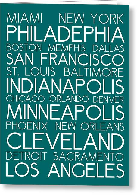 American Cities In Bus Roll Destination Map Style Poster - Green Greeting Card