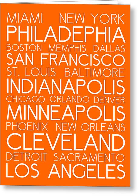 American Cities In Bus Roll Destination Map Style Poster - Orange Greeting Card