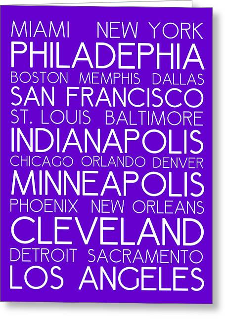 American Cities In Bus Roll Destination Map Style Poster - Purple Greeting Card by Celestial Images