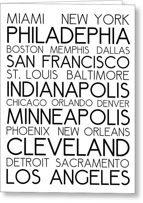 American Cities In Bus Roll Destination Map Style Poster - White Greeting Card by Celestial Images