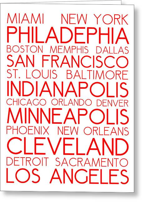 American Cities In Bus Roll Destination Map Style Poster - White-red Greeting Card by Celestial Images