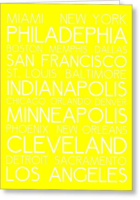American Cities In Bus Roll Destination Map Style Poster - Yellow Greeting Card by Celestial Images