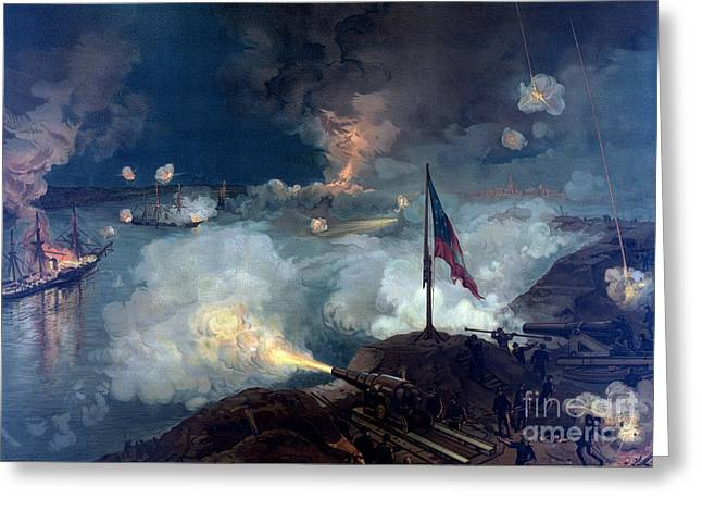 American Civil War, Siege Of Port Greeting Card by Science Source