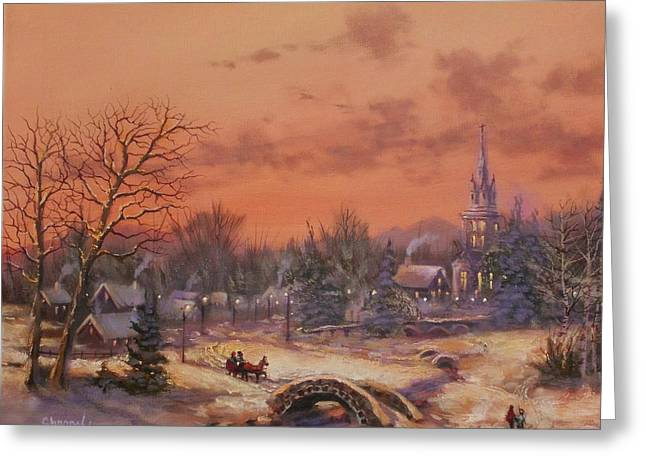 Christmas Village Greeting Cards - American Classic Greeting Card by Tom Shropshire