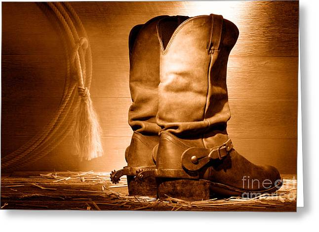 American Cowboy Boots - Sepia Greeting Card