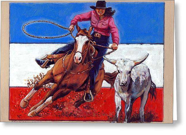 American Cowgirl Greeting Card by John Lautermilch