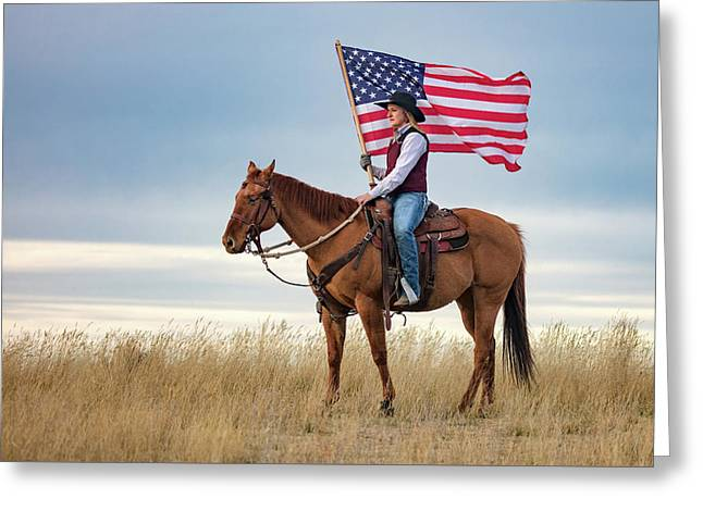 American Cowgirl Greeting Card by Todd Klassy