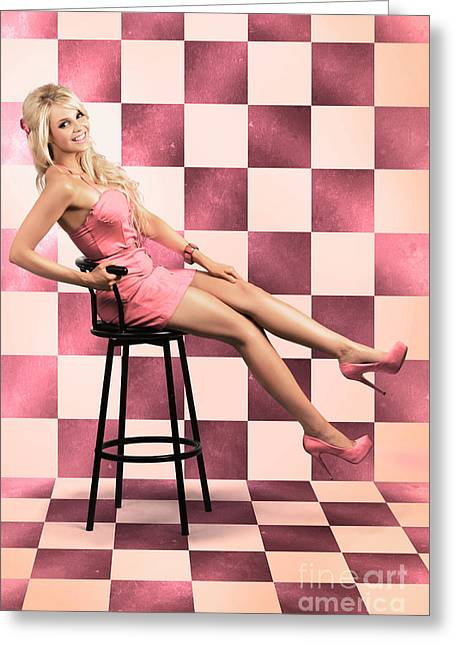 American Culture Pin Up Girl Inside 60s Retro Diner Greeting Card