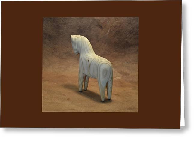 American Dala Horse In Natural Wood Greeting Card