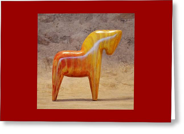American Dala Horse In Red And Yellow No. 1 Greeting Card