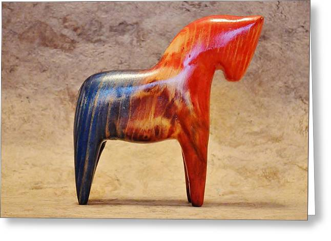 American Dala Horse In Red, White And Blue 1 Greeting Card