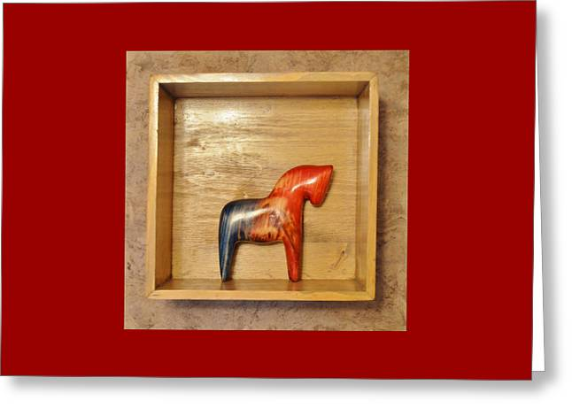 American Dala Horse In Red, White And Blue No. 2 Greeting Card