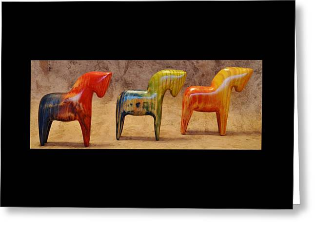 American Dala Horses, The Color Line-up Greeting Card