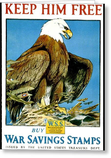 American Eagle, Keep Him Free, War Savings Stamps Greeting Card
