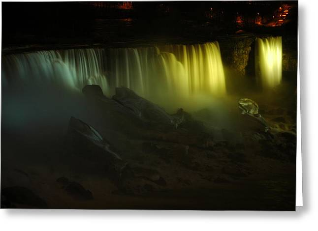 American Falls Night View Greeting Card by Rick Couper