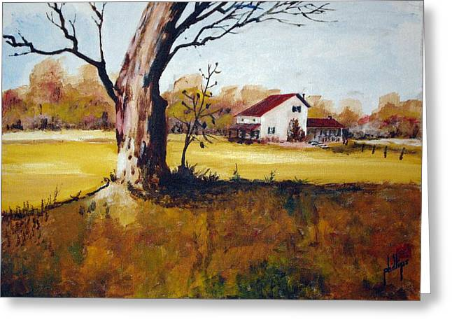 Greeting Card featuring the painting American Farmhouse by Jim Phillips