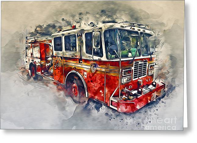 American Fire Truck Greeting Card