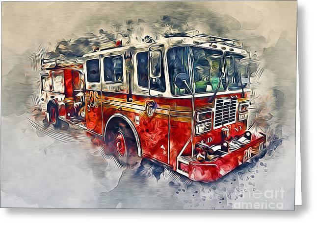 American Fire Truck Greeting Card