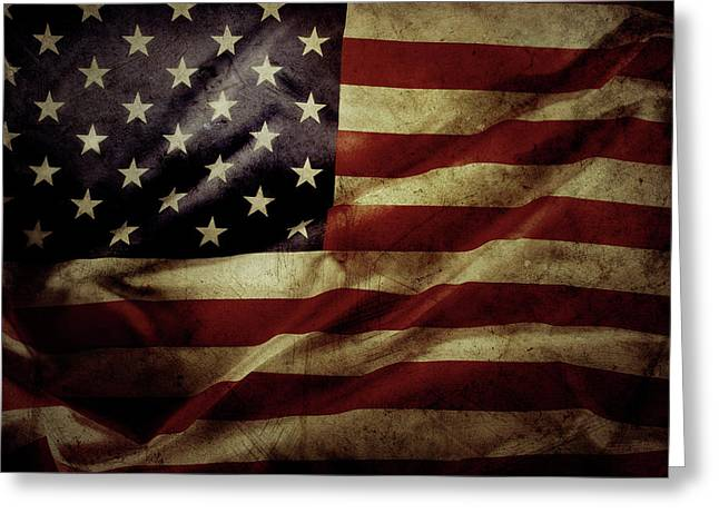 American Flag 5 Greeting Card by Les Cunliffe