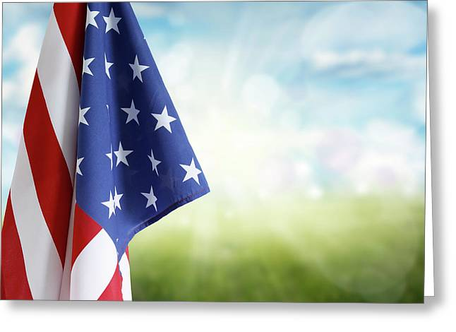 American Flag 6 Greeting Card by Les Cunliffe