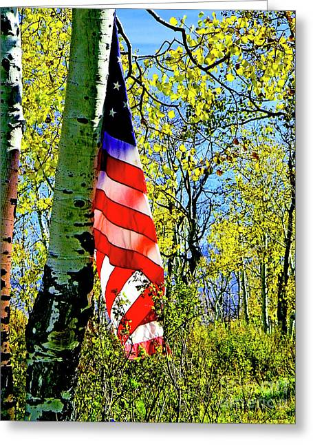 American Flag A Veteran Hunters Homage Greeting Card