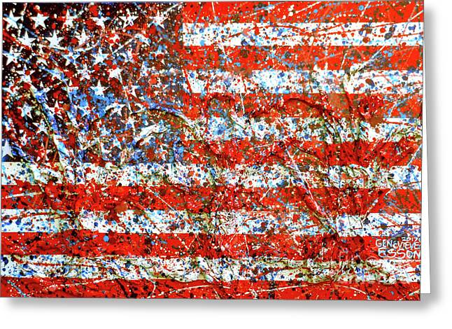 American Flag Abstract 2 With Trees  Greeting Card
