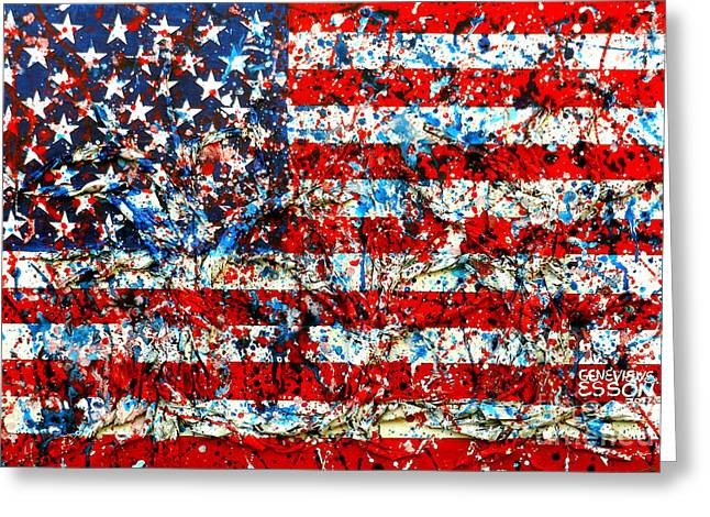 American Flag Abstract With Trees Greeting Card by Genevieve Esson