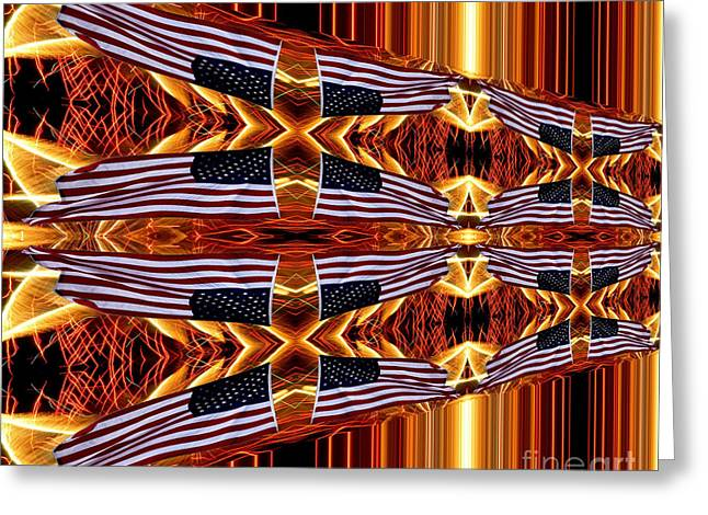 American Flag And Fireworks Horizontal Streaks Abstract Greeting Card by Rose Santuci-Sofranko